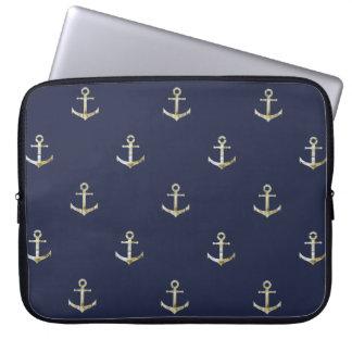 Capa Para Laptop Âncora náutica dos azuis marinhos