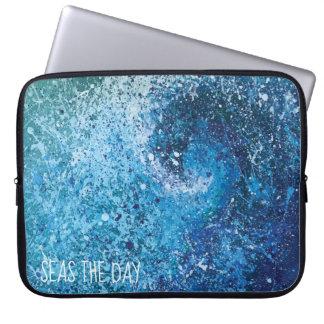 Capa Para Laptop Arte abstracta litoral da onda da praia