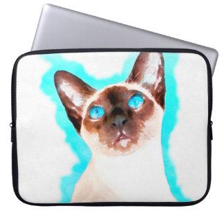 Capa Para Laptop Arte da aguarela do gato Siamese