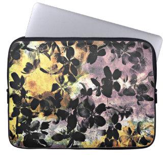 Capa Para Laptop Arte digital floral cor-de-rosa amarela do teste