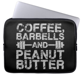 Capa Para Laptop Café, Barbells e manteiga de amendoim - exercício