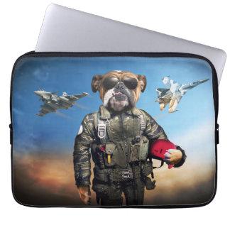 Capa Para Laptop Cão piloto, buldogue engraçado, buldogue