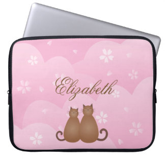 Capa Para Laptop Casal floral do gato da flor de cerejeira no