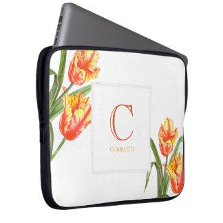 Capa Para Laptop Da tulipa amarela do papagaio da aguarela