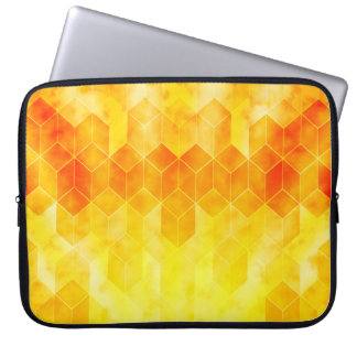 Capa Para Laptop Design geométrico do cubo do Sunburst amarelo