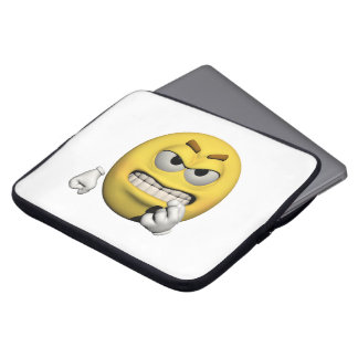 Capa Para Laptop Emoticon irritado amarelo ou smiley