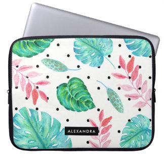 Capa Para Laptop Folhas tropicais da aguarela com bolinhas pretas