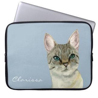 Capa Para Laptop Gato de gato malhado com a aguarela bonito dos
