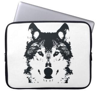 Capa Para Laptop Lobo preto da ilustração