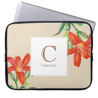Capa Para Laptop Monograma botânico da arte do lírio alaranjado da