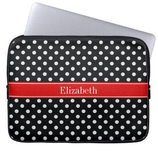 Capa Para Laptop Monograma conhecido vermelho das bolinhas preto e