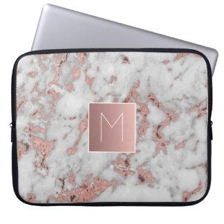 Capa Para Laptop monograma na pedra de mármore