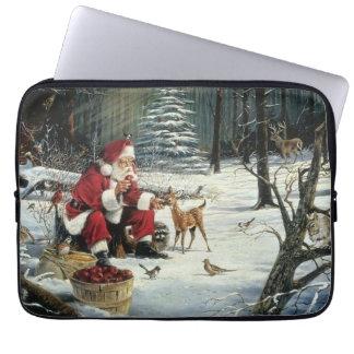 Capa Para Laptop Pintura de Papai Noel - arte do Natal