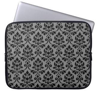 Capa Para Laptop Preto da cor damasco de Feuille em cinzas