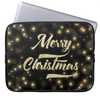 Capa Para Laptop Preto do ouro de Bokeh do brilho do Feliz Natal