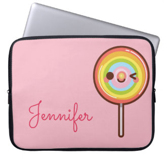 Capa Para Laptop Rosa bonito super do monograma do pirulito do