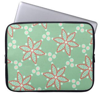 Capa Para Laptop Star flores com os pontos retros no verde pastel