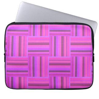Capa Para Laptop Teste padrão cor-de-rosa do weave das listras