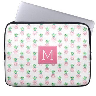 Capa Para Laptop Teste padrão Monogrammed cor-de-rosa dos abacaxis