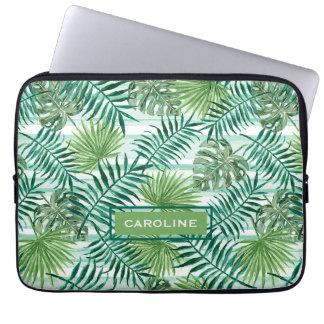Capa Para Laptop Teste padrão verde tropical chique retro das