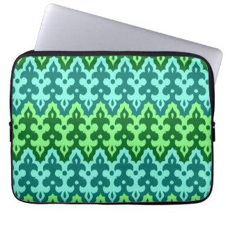 Capa Para Laptop Verde do damasco, da turquesa & de jade de Ikat do