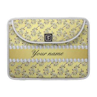 Capa Para MacBook A prata sae bagas do diamante de Bling da folha de