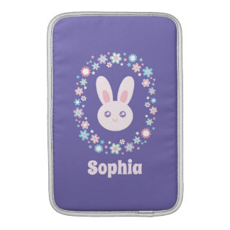 Capa Para MacBook Air Azul bonito da lavanda do coelho de coelho das