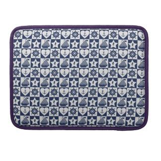 Capa Para MacBook Branco náutico dos azuis marinhos checkered