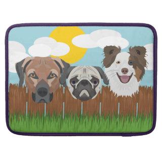 Capa Para MacBook Cães afortunados da ilustração em uma cerca de