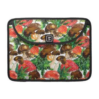 Capa Para MacBook Cogumelos da aguarela e teste padrão verde da
