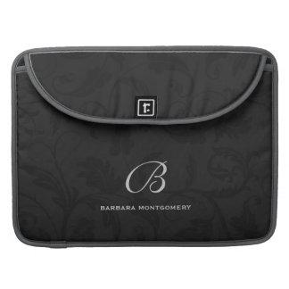 Capa Para MacBook Damasco preto profissional com monograma