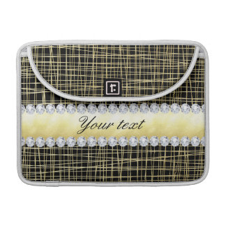 Capa Para MacBook Linhas e diamantes transversais de Criss do ouro