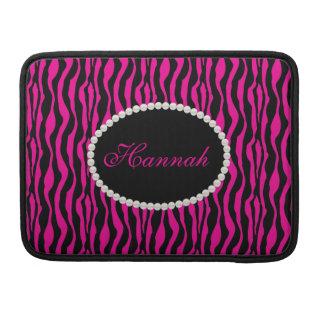 Capa Para MacBook Luva cor-de-rosa chique de Macbook do monograma do