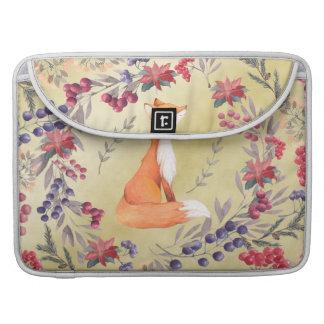 Capa Para MacBook Ouro das bagas do inverno do Fox da aguarela
