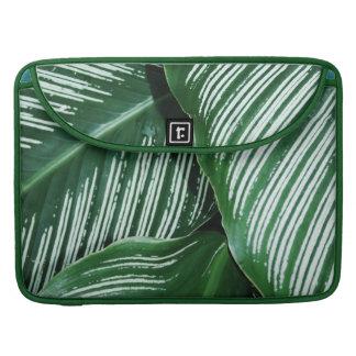Capa Para MacBook Pro As folhas do verde com branco listram o close up