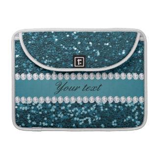 Capa Para MacBook Pro Brilho azul e diamantes do falso da cerceta escura