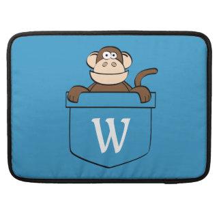 Capa Para MacBook Pro Macaco engraçado em um bolso Monogrammed
