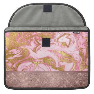 Capa Para MacBook Pro Mármore cor-de-rosa do brilho e da faísca do ouro