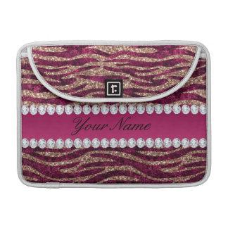 Capa Para MacBook Pro Ouro cor-de-rosa das listras da zebra da folha do