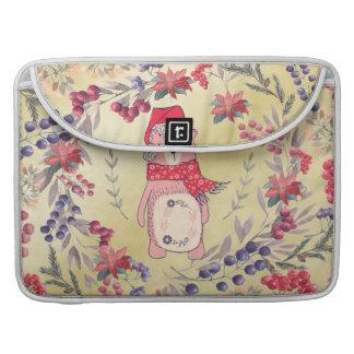 Capa Para MacBook Pro Ouro das bagas da aguarela do urso do Natal