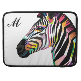 Capa Para MacBook Pro Zebra colorida do pop art Monogrammed