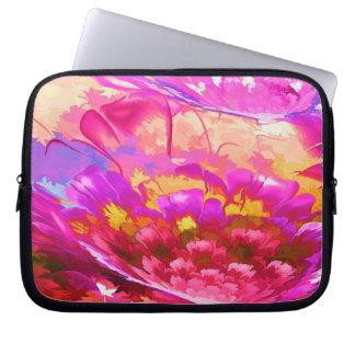Capa Para Notebook A bolsa de laptop abstrata floral do neopreno 10