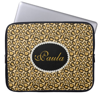 Capa Para Notebook A bolsa de laptop chique do impressão do leopardo