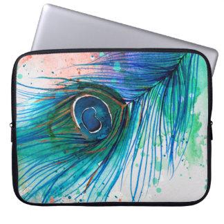 Capa Para Notebook A bolsa de laptop da pena do pavão da aguarela