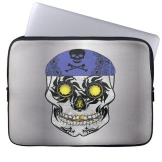 Capa Para Notebook A bolsa de laptop de prata do crânio dos doces do
