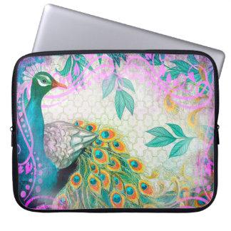 Capa Para Notebook A bolsa de laptop do jardim da pena do pavão