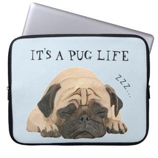 Capa Para Notebook A bolsa de laptop ilustrada Pug do sono