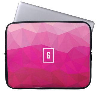 Capa Para Notebook A bolsa de laptop poligonal da inicial do ombre do