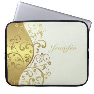 Capa Para Notebook A bolsa de laptop--Redemoinhos do marfim & do ouro