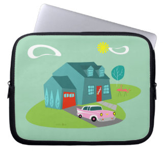 Capa Para Notebook A bolsa de laptop suburbana retro da casa